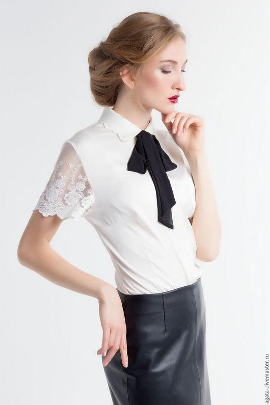 Блузки ручной работы. Ярмарка Мастеров - ручная работа. Купить блузка с черным бантом. Handmade. Белый, молочный цвет