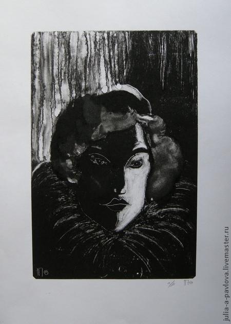 """Люди, ручной работы. Ярмарка Мастеров - ручная работа. Купить Картина """"Портрет из серебряного века"""" графика эстамп. Handmade."""