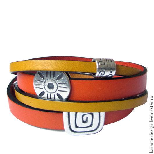 Браслеты ручной работы. Ярмарка Мастеров - ручная работа. Купить Кожаный браслет-намотка Солнечный, желтый и оранж. Handmade. Оранжевый