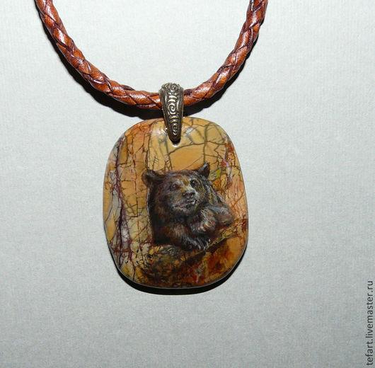 """Кулоны, подвески ручной работы. Ярмарка Мастеров - ручная работа. Купить Кулон """"Мишка"""". Handmade. Кулон, Живопись, мишка, яшма"""