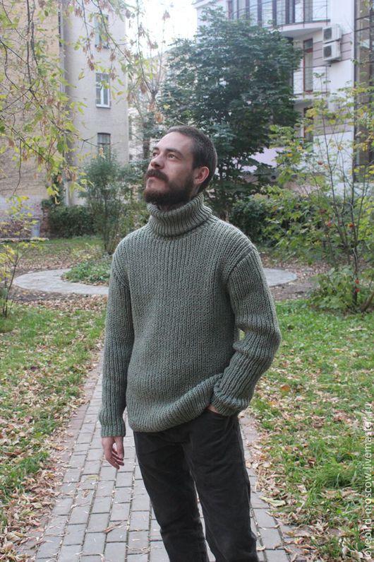Для мужчин, ручной работы. Ярмарка Мастеров - ручная работа. Купить Мужской свитер. Handmade. Зеленый, свитер мужской
