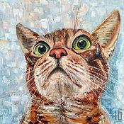 Картины и панно handmade. Livemaster - original item Painting Surprised cat painting with a cat oil on canvas. Handmade.