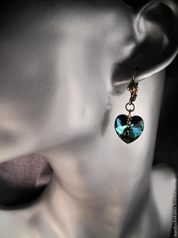Pendants handmade. Livemaster - handmade. Buy Earrings with Swarovski crystals Vitral medium hearts.Swarovski, earrings with crystals
