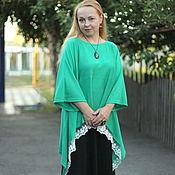 "Одежда handmade. Livemaster - original item Knit summer tunic ""Lightest with lace - 2"". Handmade."