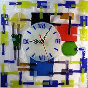 """Для дома и интерьера ручной работы. Ярмарка Мастеров - ручная работа Часы фьюзинг,  """"Цветная абстракция"""". Handmade."""