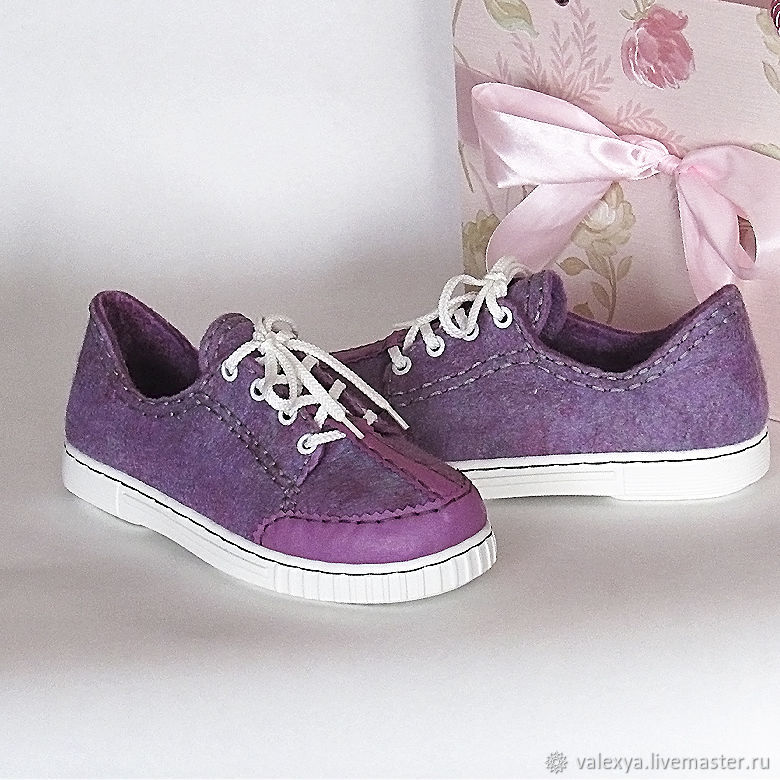 Sneakers: Felted sneakers Pink evening, Training shoes, Salsk,  Фото №1