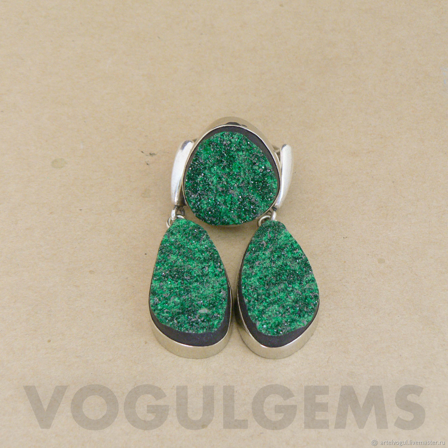 The earrings and the ring uvarovite. Earrings and ring, green garnet, Jewelry Sets, Nizhnij Tagil,  Фото №1