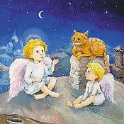 Картины и панно handmade. Livemaster - original item Angels and Rhymes Picture in Children`s Print 20h20 cm. Handmade.