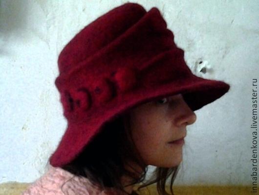 """Шляпы ручной работы. Ярмарка Мастеров - ручная работа. Купить шляпа """"Испания"""". Handmade. Бордовый, шерсть, авторская ручная работа"""