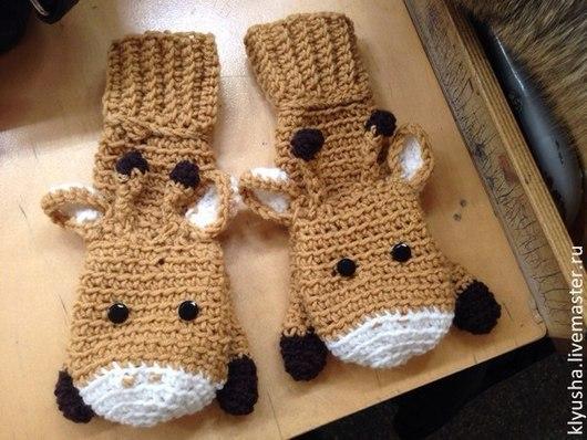 Варежки, митенки, перчатки ручной работы. Ярмарка Мастеров - ручная работа. Купить Варежки вязаные Жирафы. Handmade. Бежевый, жираф