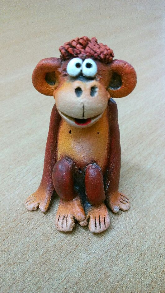 Статуэтки ручной работы. Ярмарка Мастеров - ручная работа. Купить Обезьяна  керамическая. Handmade. Комбинированный, новогодний сувенир, фигурки животных