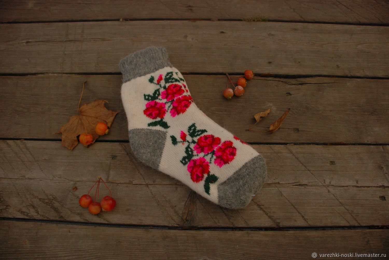 Носки позитивные веселые с рисунком зимние цветы, Носки, Москва, Фото №1