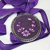 Украшения handmade. Livemaster - original item Embroidered pendant Purple. Handmade.