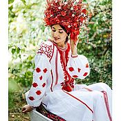 Одежда ручной работы. Ярмарка Мастеров - ручная работа Белое Вышитое платье. Славянское свадебное платье. Handmade.
