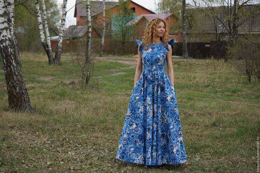 """Платья ручной работы. Ярмарка Мастеров - ручная работа. Купить Длинное платье в пол """"Гжель"""". Handmade. Синий, платье летнее"""