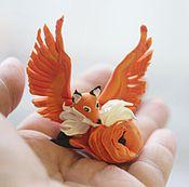 """Сувениры и подарки ручной работы. Ярмарка Мастеров - ручная работа фигурка """"крылатая лисичка"""" (лиса рыжая, бордовая лиса). Handmade."""