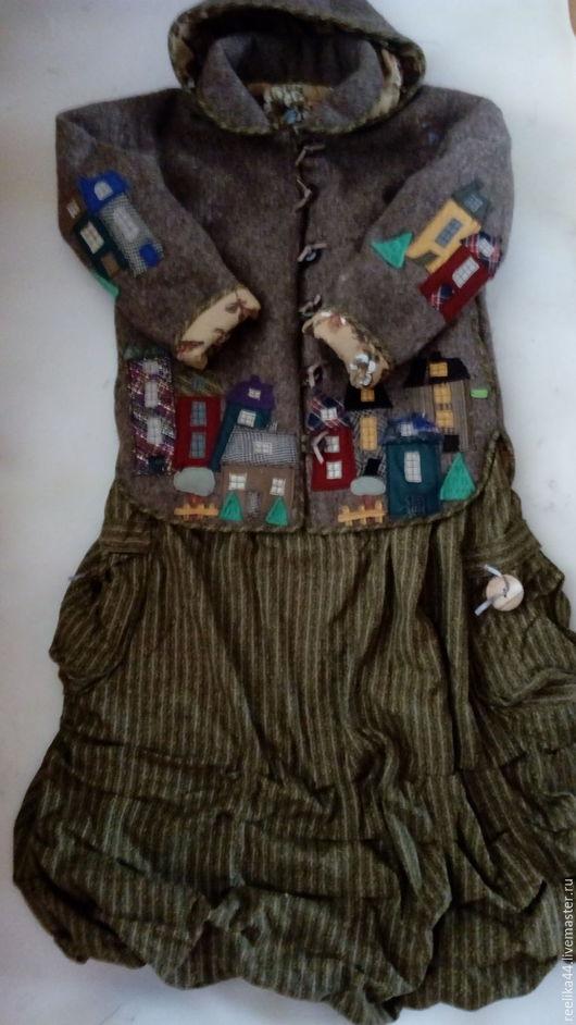 """Верхняя одежда ручной работы. Ярмарка Мастеров - ручная работа. Купить Куртка из шинельного сукна """" Города"""". Handmade. Хаки"""