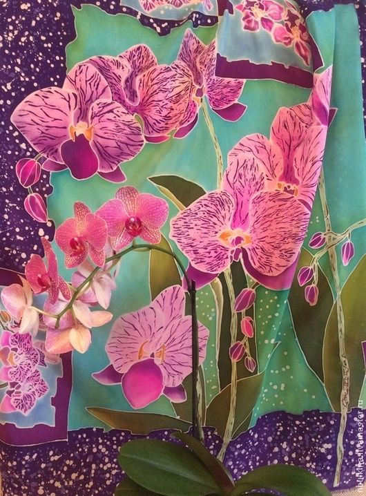 Шали, палантины ручной работы. Ярмарка Мастеров - ручная работа. Купить платок орхидеи. Handmade. Платок шелковый, роспись по шелку