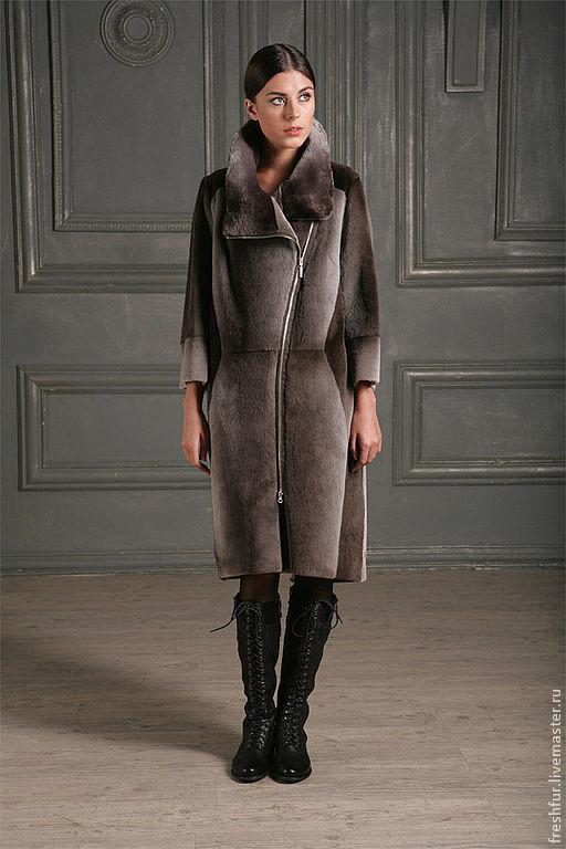 Верхняя одежда ручной работы. Ярмарка Мастеров - ручная работа. Купить пальто из стриженого бобра. Handmade. Серый, красивая шуба