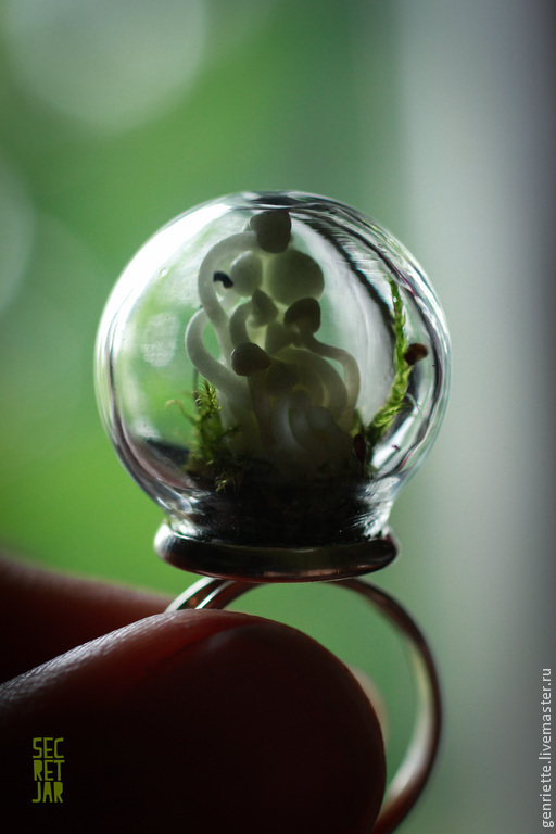 Кольца ручной работы. Ярмарка Мастеров - ручная работа. Купить Кольцо со светящимися грибочками. Handmade. Зеленый, мох