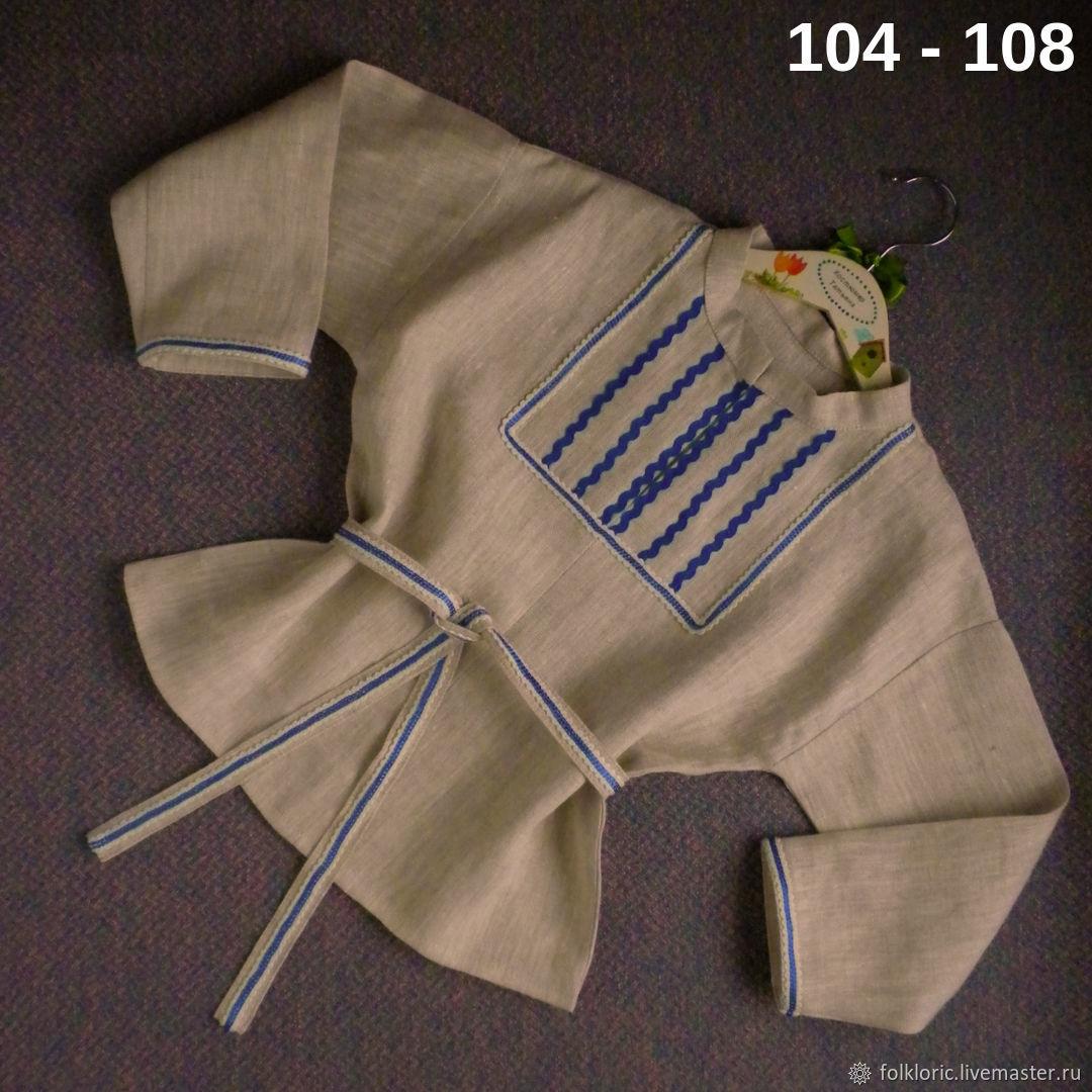 Russian folk shirt of unbleached linen, Carnival costumes for children, Kaliningrad,  Фото №1
