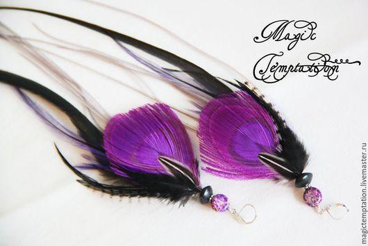 Серьги ручной работы. Ярмарка Мастеров - ручная работа. Купить Фиолетовые серьги из перьев павлина и петуха.. Handmade. Фиолетовый, хиппи