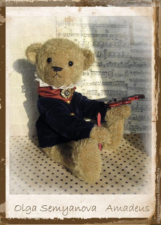 Мишки Тедди ручной работы. Ярмарка Мастеров - ручная работа. Купить Амадеус. Handmade. Бежевый, мишки тедди, бархат шёлковый