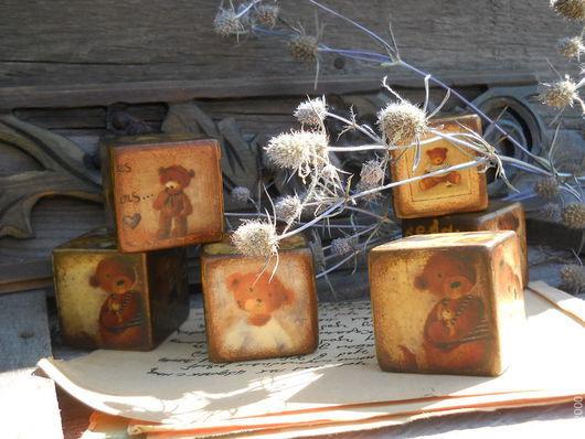 """Аксессуары для фотосессий ручной работы. Ярмарка Мастеров - ручная работа. Купить Кубики """"Мишки Тедди"""" (набор из 3 кубиков). Handmade."""