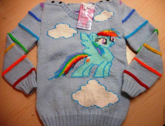 """Одежда для девочек, ручной работы. Ярмарка Мастеров - ручная работа. Купить Свитерок  для девочки """"Пони Радуга"""". Handmade. Рисунок, пони"""