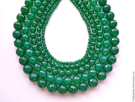Для украшений ручной работы. Ярмарка Мастеров - ручная работа. Купить Агат зеленый, граненный шар. Handmade. Зеленый