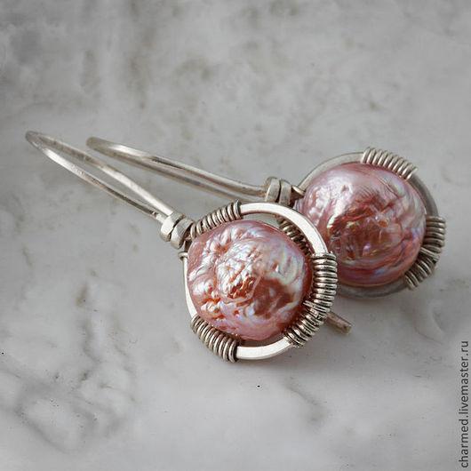 Серьги ручной работы. Ярмарка Мастеров - ручная работа. Купить Серьги из серебра и Kasumi-like жемчуга. Handmade. Кремовый