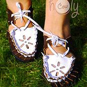 """Обувь ручной работы. Ярмарка Мастеров - ручная работа Кожаные сандалии """"Brown & White"""". Handmade."""