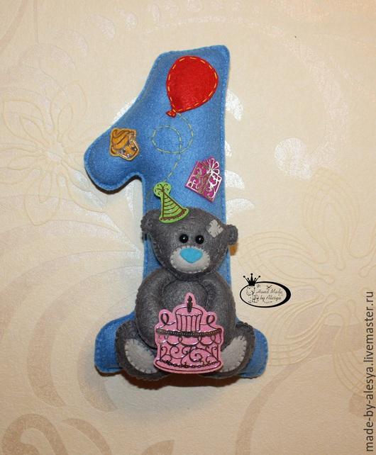 Праздничная атрибутика ручной работы. Ярмарка Мастеров - ручная работа. Купить Цифра из фетра с мишкой Тедди для Дня рождения.. Handmade.