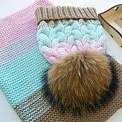 """Работы для детей, handmade. Livemaster - original item Комплект: Шапка """"косы с тенью"""" радужный градиент и снуд. Handmade."""