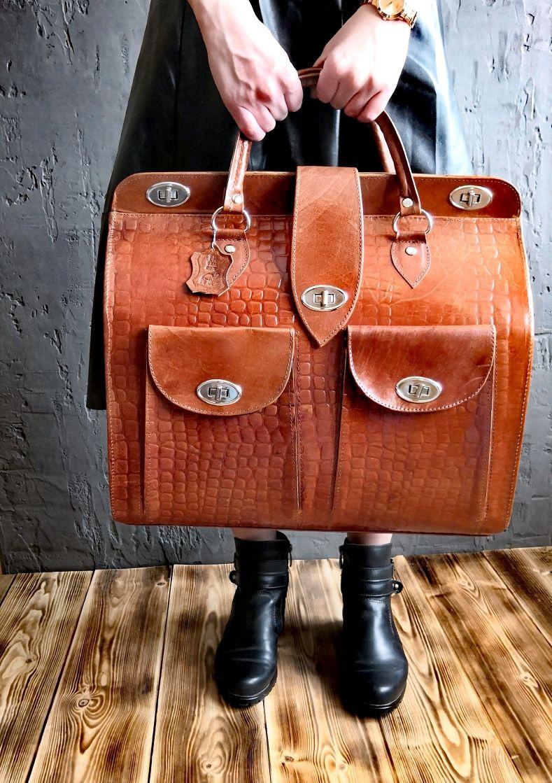 Женские сумки ручной работы. Ярмарка Мастеров - ручная работа. Купить Большой дорожный саквояж из натуральной кожи верблюда. Handmade.