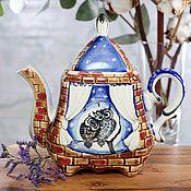 """Посуда handmade. Livemaster - original item Чайник заварочный фарфоровый """"Совы"""". Handmade."""