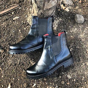Обувь ручной работы. Ярмарка Мастеров - ручная работа Челси «чёрный/красный». Handmade.