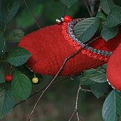"""Обувь ручной работы. Ярмарка Мастеров - ручная работа Валяные тапочки """"Красные ягоды"""". Handmade."""