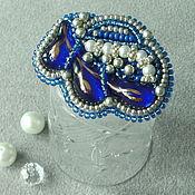 Украшения handmade. Livemaster - original item Brooch Blue luxury, fusing, bead embroidery. Handmade.