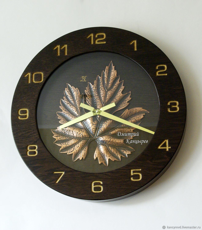 Wall clock 'Grape leaf' dark wood metal, Watch, Ivanovo,  Фото №1