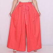 Одежда ручной работы. Ярмарка Мастеров - ручная работа Широкие льняные брюки-юбка, летние штаны коралловый  цвет. Handmade.