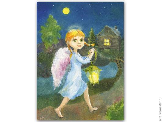 Детская ручной работы. Ярмарка Мастеров - ручная работа. Купить Ангел и добрая весть Картина Принт. Handmade. Ангел
