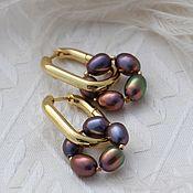 handmade. Livemaster - original item Purple Pearl Hoop Earrings. Handmade.