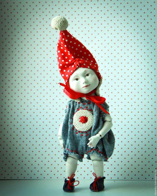 Коллекционные куклы ручной работы. Ярмарка Мастеров - ручная работа. Купить Маленький гном Вася.. Handmade. Ярко-красный, подарок