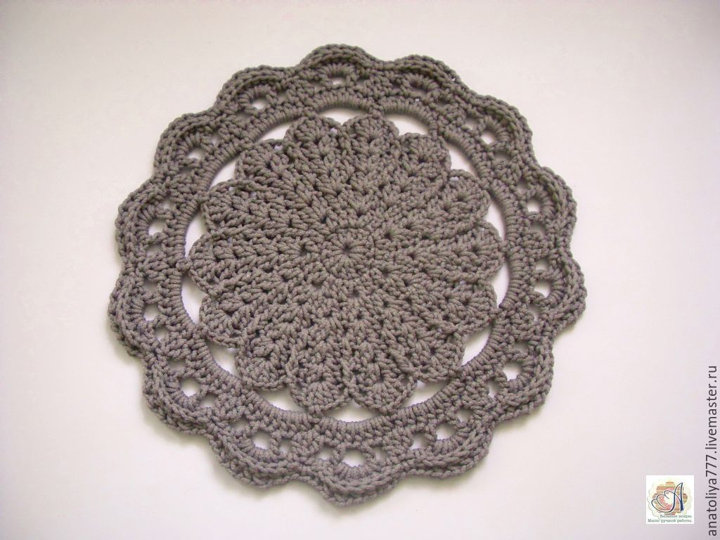 Knitted Mat of cord bedside Silver flower small, Carpets, Kabardinka,  Фото №1
