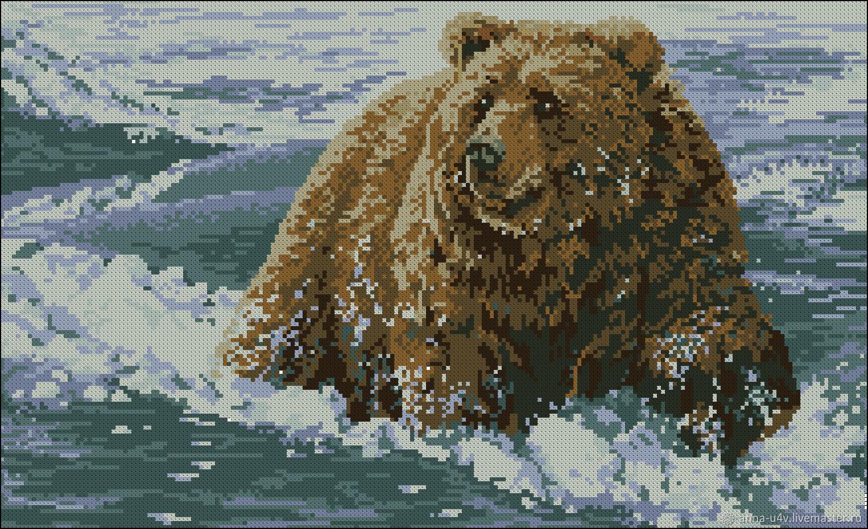Медведь на снегу, Схемы для вышивки, Брянск,  Фото №1