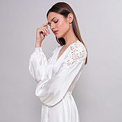 Одежда handmade. Livemaster - original item Long Bridal Robe F22, Long Silk Bridal Robe, Bride Robe, Bridal Robe. Handmade.