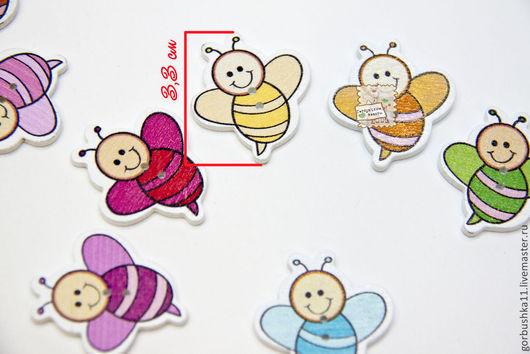 фото пуговицы деревянные пчелки веселые. Размер 3,3*3,0 см Материалы для творчества Горбушкины товары