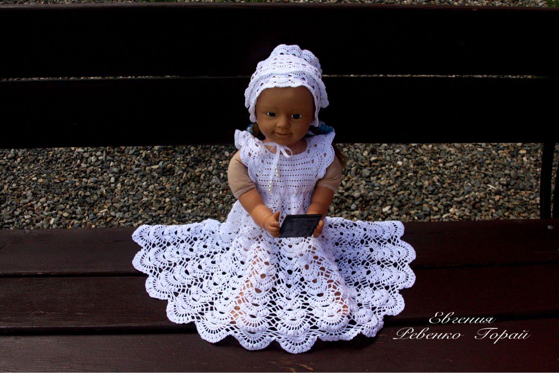 Вязание крючком крестильного платья для девочек 870