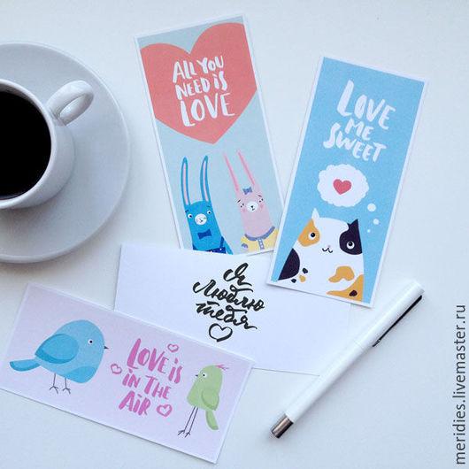 Валентинки ручной работы. Ярмарка Мастеров - ручная работа. Купить Комплект открыток. Handmade. Комбинированный, День всех влюбленных